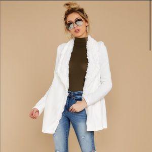 White Drape Front Jacket